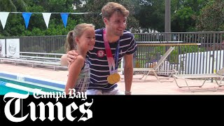 Olympic gold medalist Bobby Finke reunites with friends and family in Clearwater