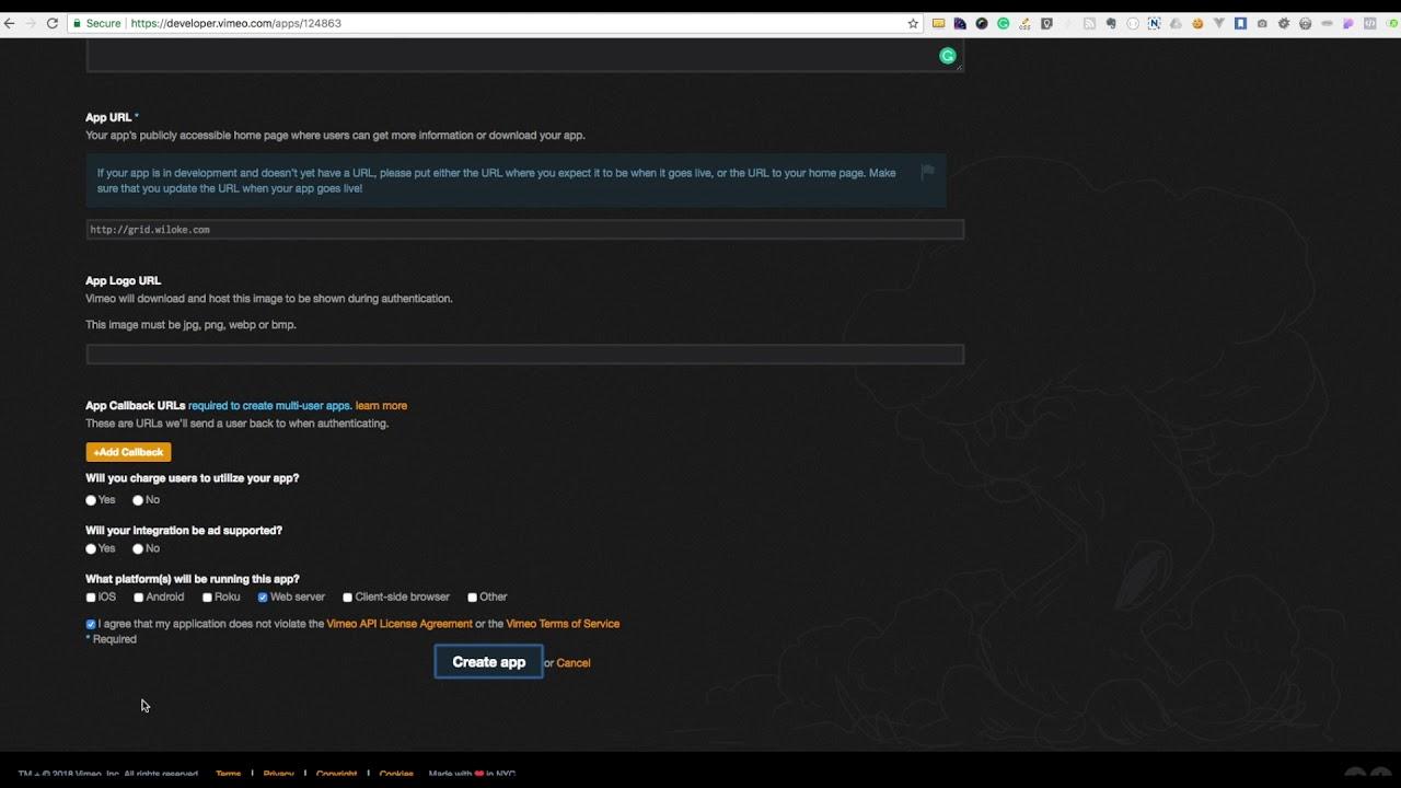 Creating Vimeo API