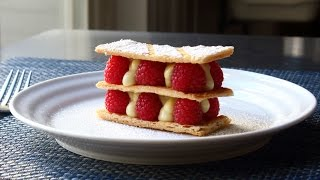Mille Feuille - Vanilla Custard & Raspberry Napoleon Pastry