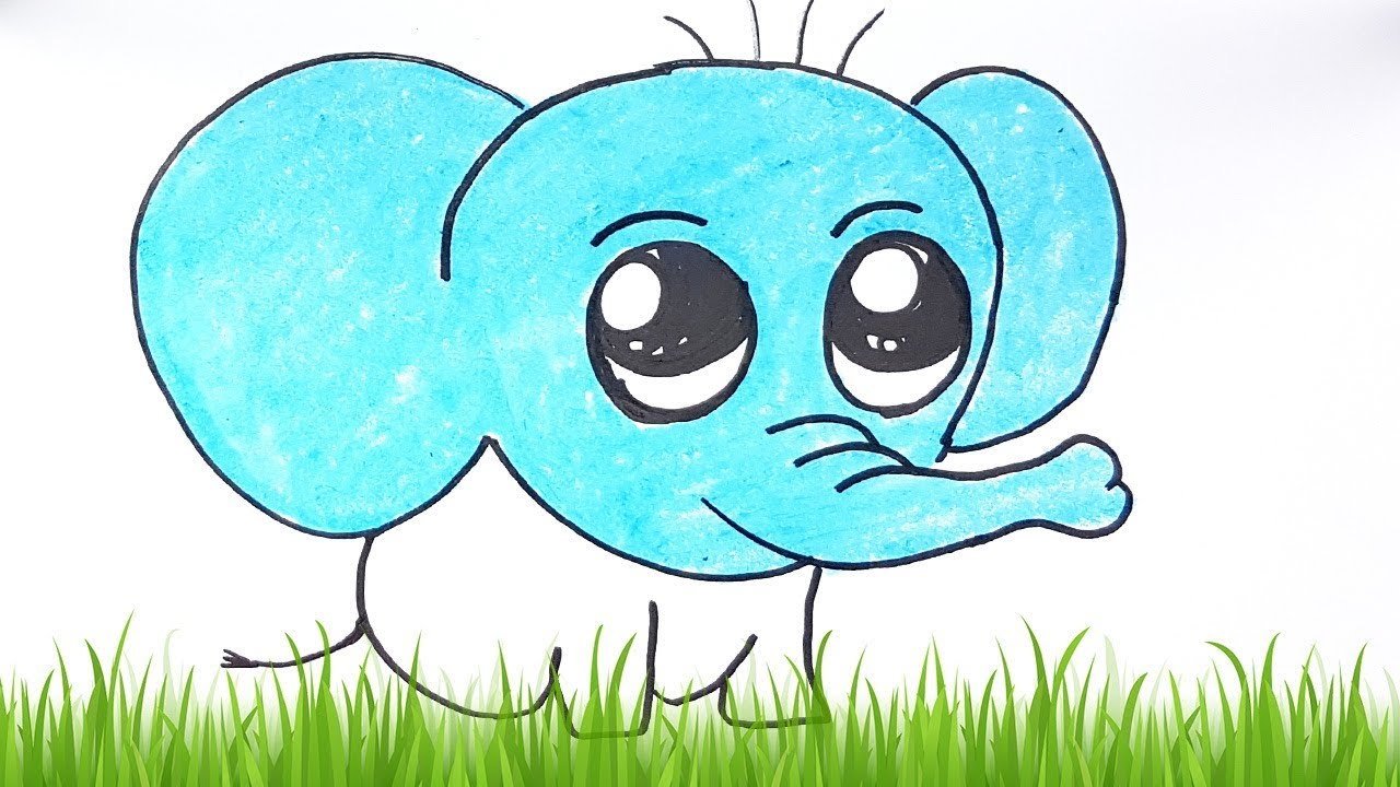 How To Draw an Cute Elephant Easy Step by Step | Color learning and ...