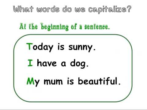 Capitalization For First And Second Grade Students.