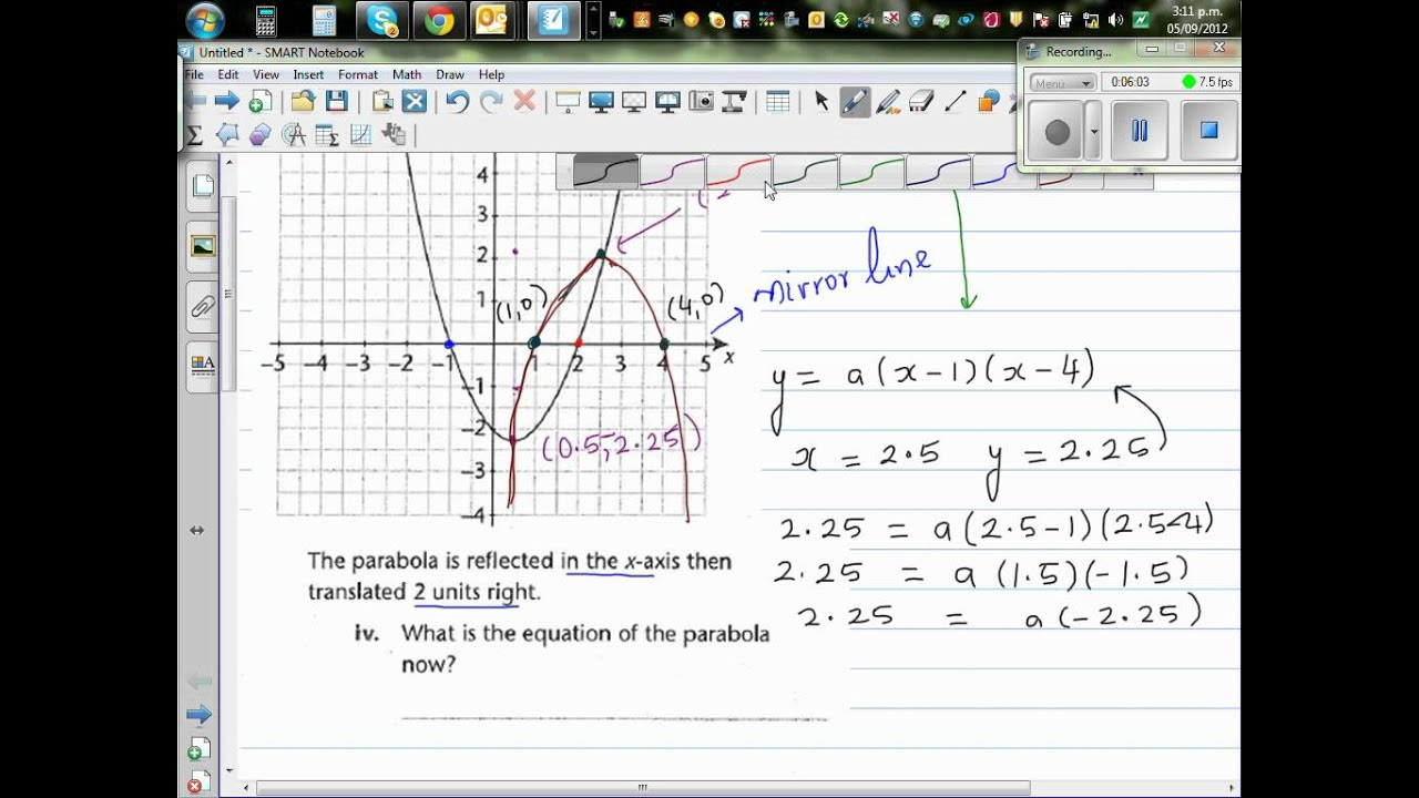 Writing Equation Of A Transformed Parabola Reflected About X Axis And Translated 2 To The Right