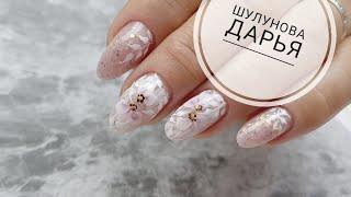 Коррекция нарощенных ногтей полигелем/Аквариумный дизайн на короткие ногти/Аквариумная лепка