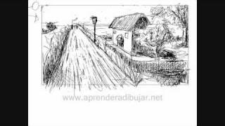 One Point Perspective Drawing  - Landscape - Things To Draw