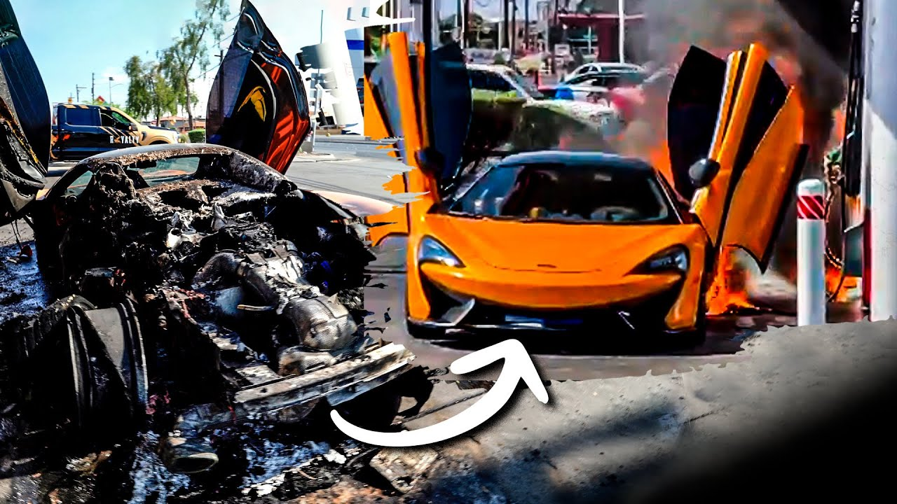 McLaren EXPLODES Near Fuel Station *Driver Missing*