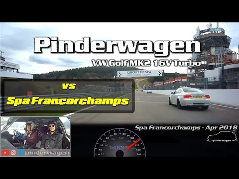 Pinderwagen Golf MK2 16V Turbo at Spa Francorchamps with traffic. Javelin Trackdays 3rd April 2018