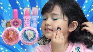 アナ雪メイクセットでおしゃれしてみました♫ 子供 お化粧 Frozen Makeup set himawari-CH thumbnail