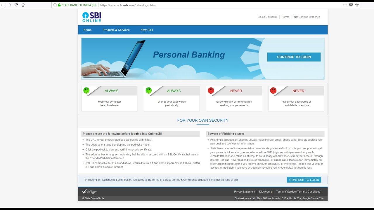 state bank of india login retail