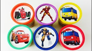 Learn Colors Cups Play Doh Clay Surprise Toys Disney Cars Mcqueen Superheroes Little Bus Tayo