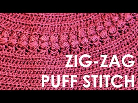How to crochet puff stitch Zigzag puff stitch Free crochet pattern