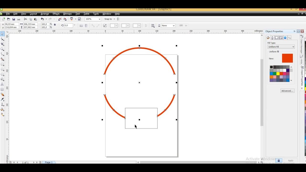 Cara Memotong Objek Lingkaran Pada Coreldraw Youtube