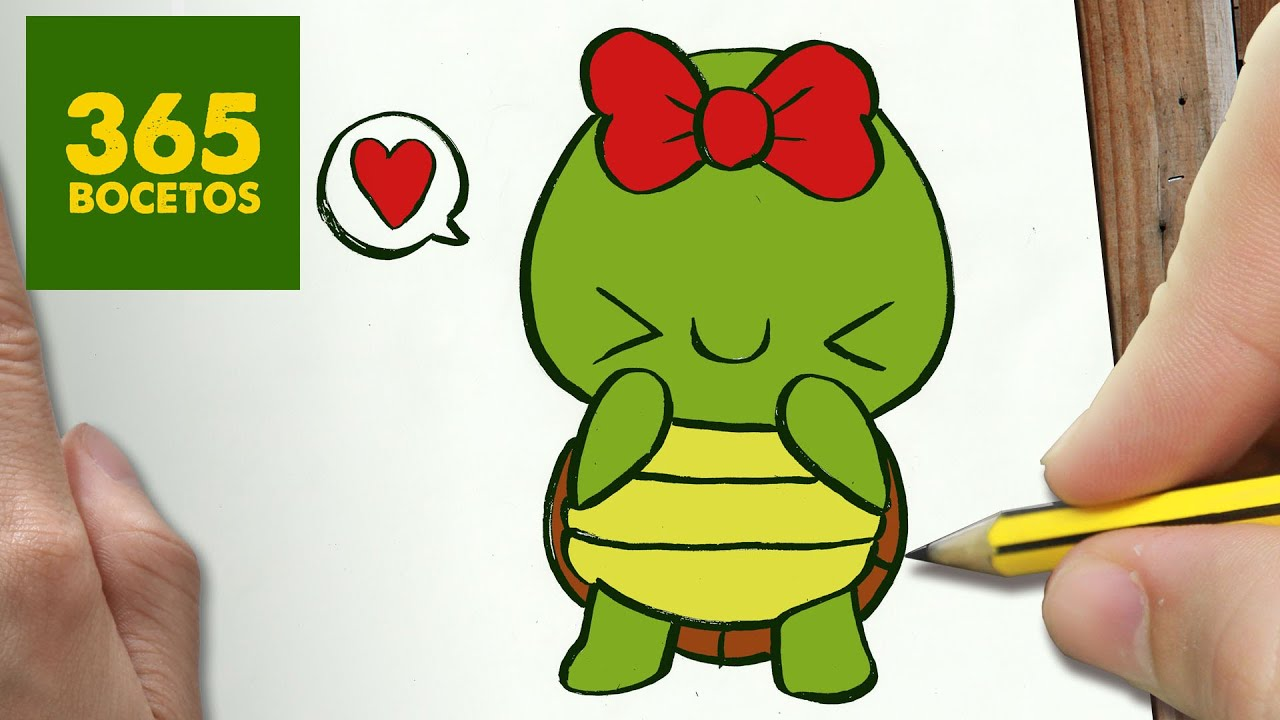 COMO DIBUJAR TORTUGA KAWAII PASO A PASO , Dibujos kawaii faciles , How to draw a Tortuga , YouTube