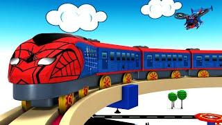 Spider City - Spider Train Cartoon - Toy Factory Cartoon Toy Train