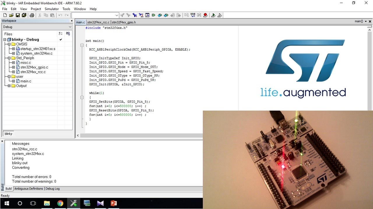 #3 STM32F4/ARM Cortex M4 - Blink an LED using STM32 Series Boards -  Discovery/Nucleo in IAR