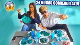 24 HORAS COMIENDO AZUL CON MI NOVIO!