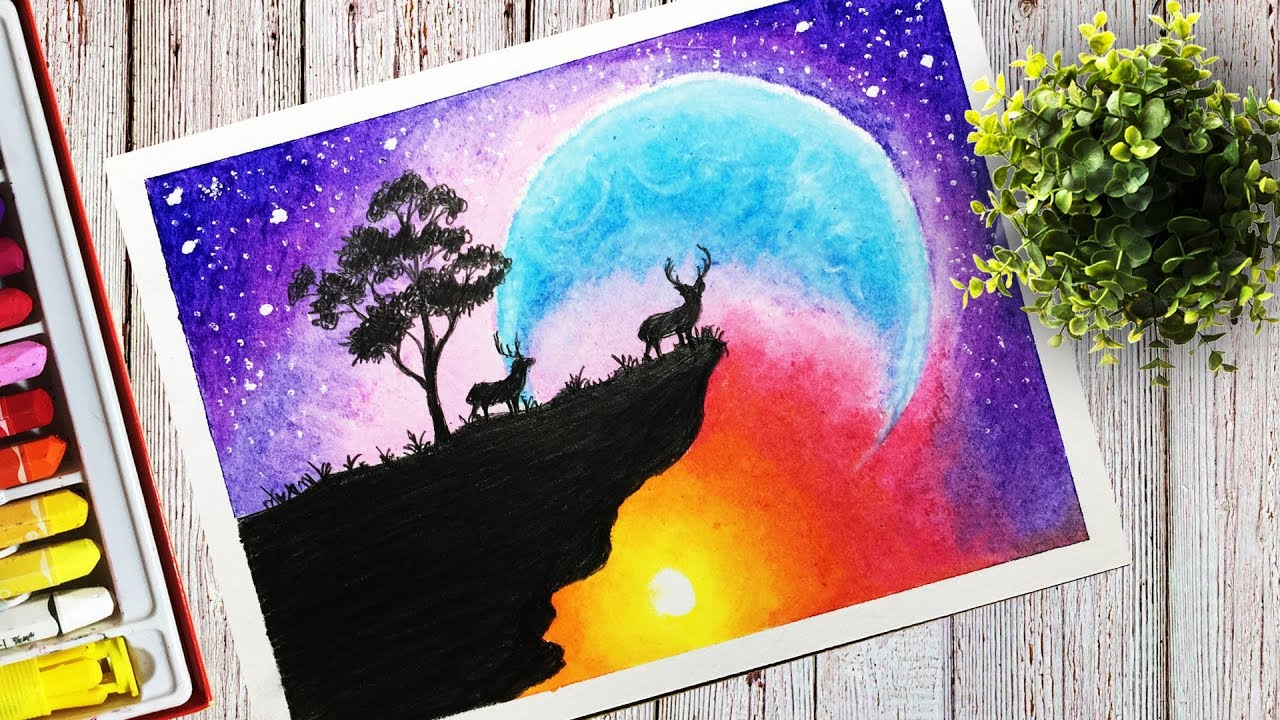 drawing a beautiful colorful sky scenery with oil pastel for step by step