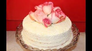Эффектный Торт Украшенный Живыми Цветами. Очень Нежный и Вкусный