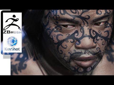 Zbrush 4R8 Keyshot Tattooed Faces VIII Speedsculpt Timelapse And Turntable