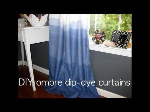 ombre dip dye diy indigo curtains youtube