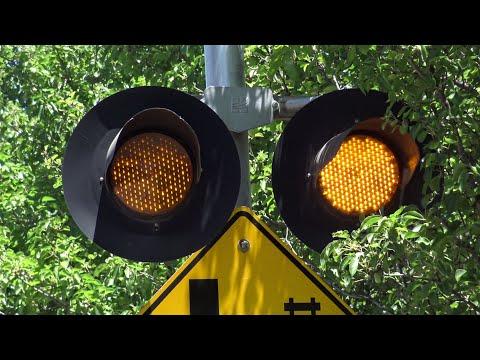 S Watt Ave Railroad Crossing Yellow Flasher Warning Signal, Sacramento California