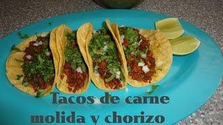 Tacos Carne molida con chorizo Recetas Una Pizca de Sabor