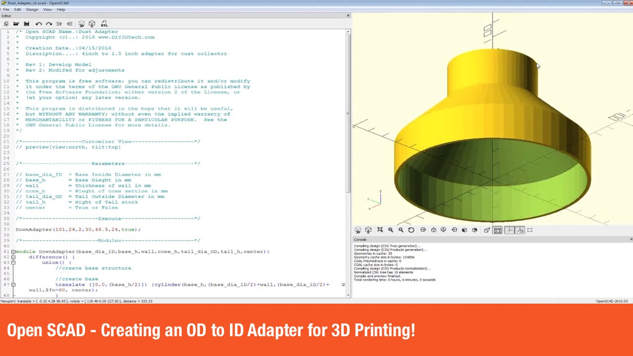 Open SCAD - Creating an OD to ID Adapter for 3D Printing!