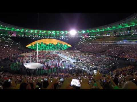 Brazil enter the Maracana stadium