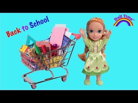 BACK TO SCHOOL SHOPPING HAUL!  ELSA & ANNA Toddler Dolls & Barbie - SCHOOL SUPPLIES - Cute PUPPY