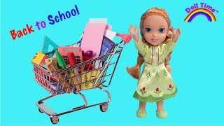 BACK TO SCHOOL SHOPPING HAUL!  ELSA & ANNA Toddler Dolls & Barbie - SCHOOL SUPPLIES - Cute PUPPY