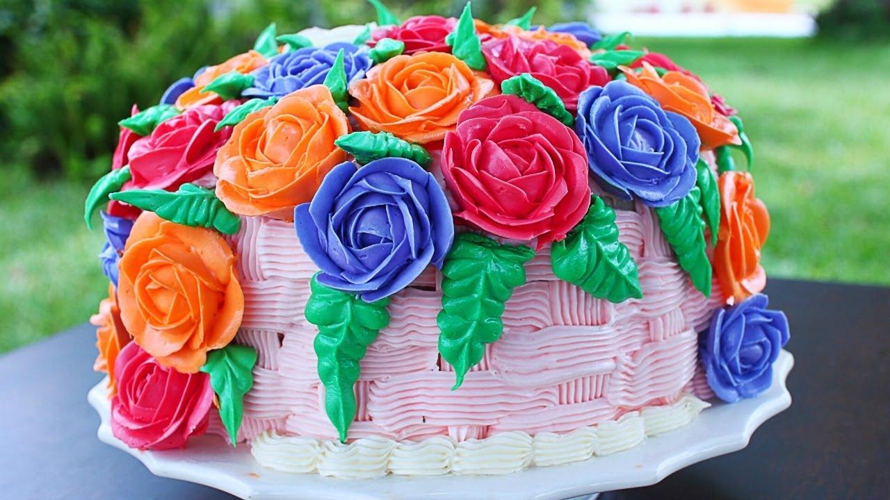 Amazing Basket Of Roses Cake Basket Of Roses Vanilla Cake Recipe