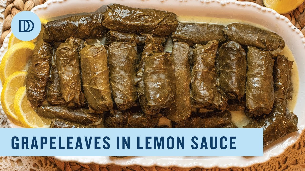 Dolmadakia Avgolemono Greek Style Stuffed Grape Leaves With A Lemony Sauce Youtube
