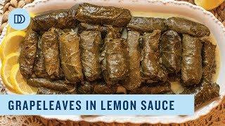 Dolmadakia Avgolemono: Greek Style Stuffed Grape Leaves with a Lemony Sauce