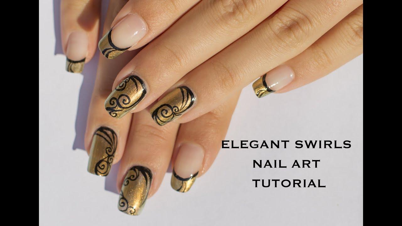 Easy Elegant Swirls Nail Art Tutorial Youtube