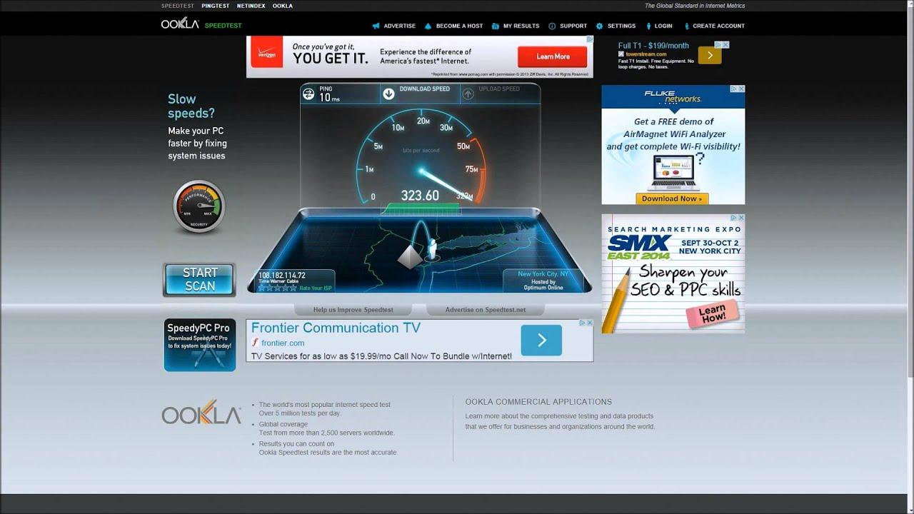 fiber hastighet test
