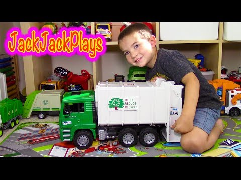 Thumbnail: Garbage Trucks for Children - Bruder Garbage Truck Toy Unboxing - Jack Jack Playing Recycling