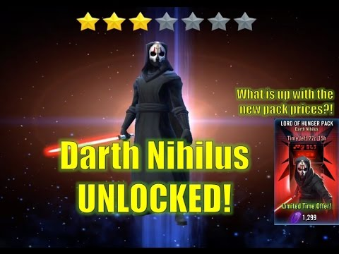 Star Wars Galaxy of Heroes: Darth Nihilus Unlocked!! Lord of Hunger Pack Pricey?