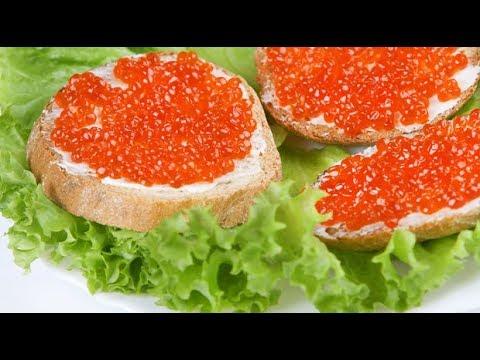 Топ-5 бутерброды с красной икрой на батоне (хлебе)/Sandwiches With Red Caviar