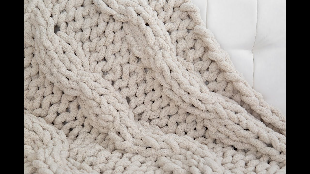How To Hand Knit A Cable Knit Chenille Blanket Youtube