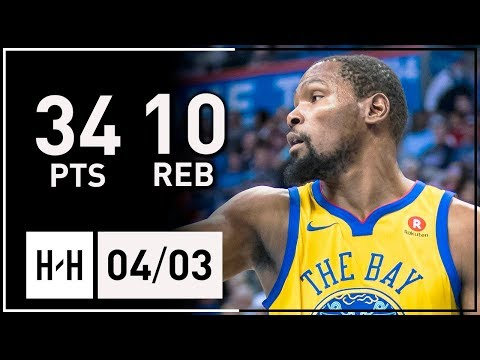 Kevin Durant Full Highlights Warriors vs Thunder (2018.04.03) - 34 Points, 10 Reb