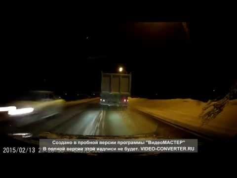 Пьяный водитель МАЗа в Мысках (Кемеровская область) 13.02.15