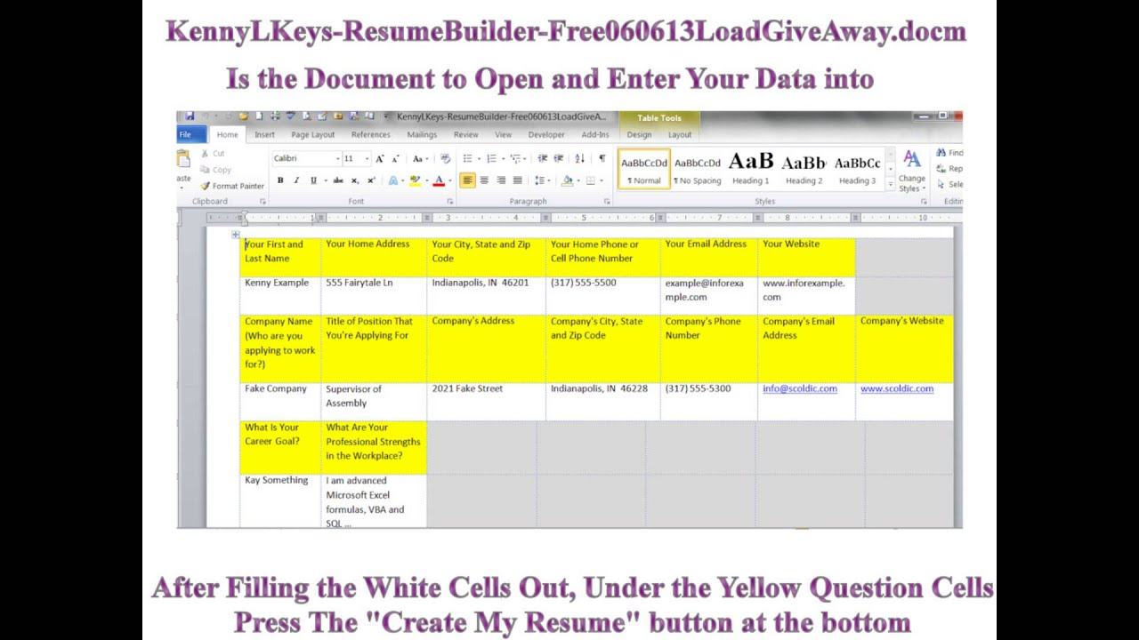 microsoft word vba creates resume and cover letter generator 060612 kenny l keys youtube