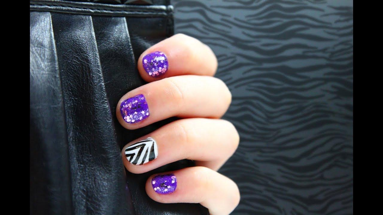 Purple Glitter Zebra Nails Tutorial