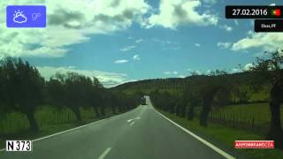 Driving through Alentejo (Portugal) from Campo Maior to Elvas 27.02.2016 Timelapse x4