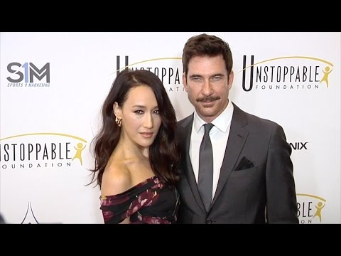 Maggie Q and Dylan McDermott 2017 Unstoppable Foundation Gala Red Carpet jpg