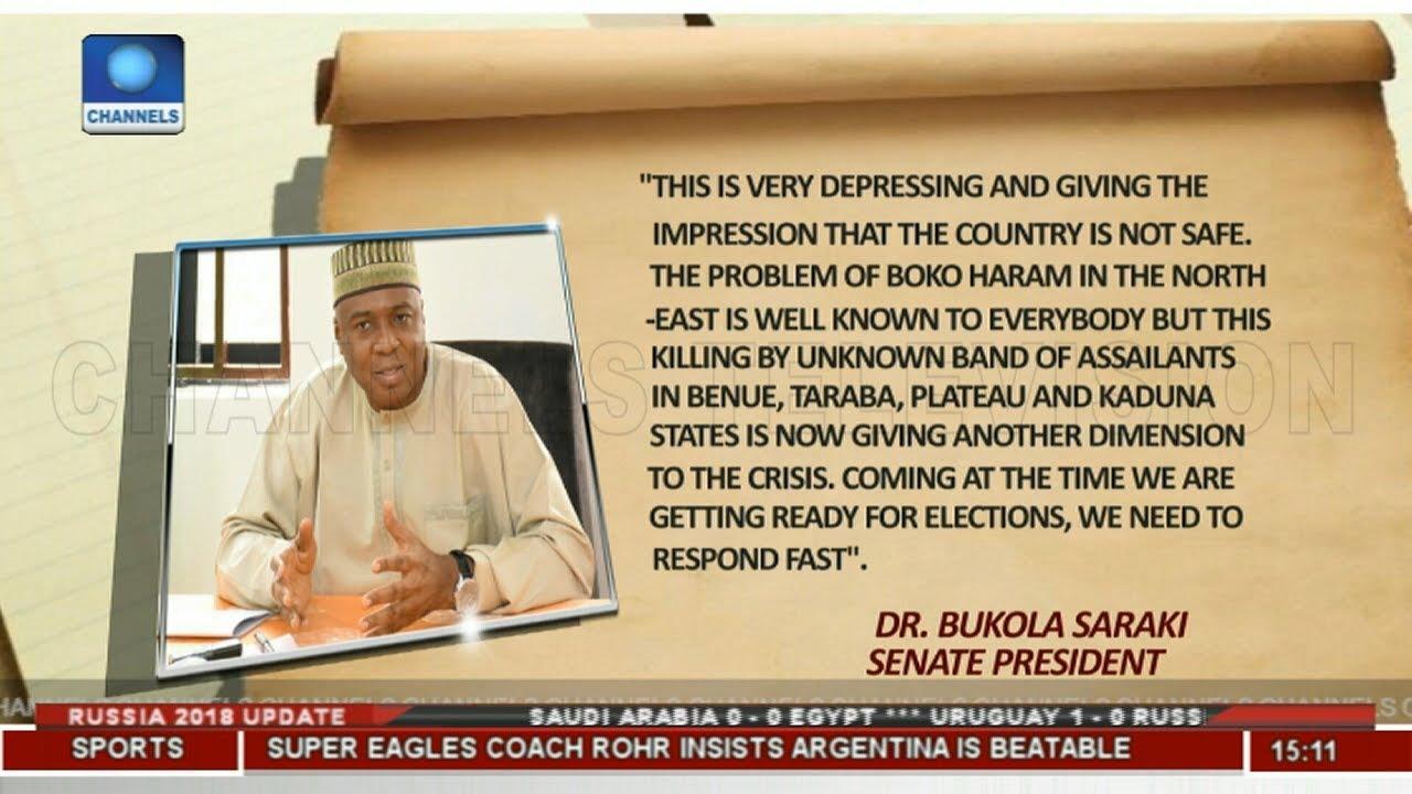 Plateau Killings: Come Up With Quick Response, Saraki Tells Buhari |News Across Nigeria|