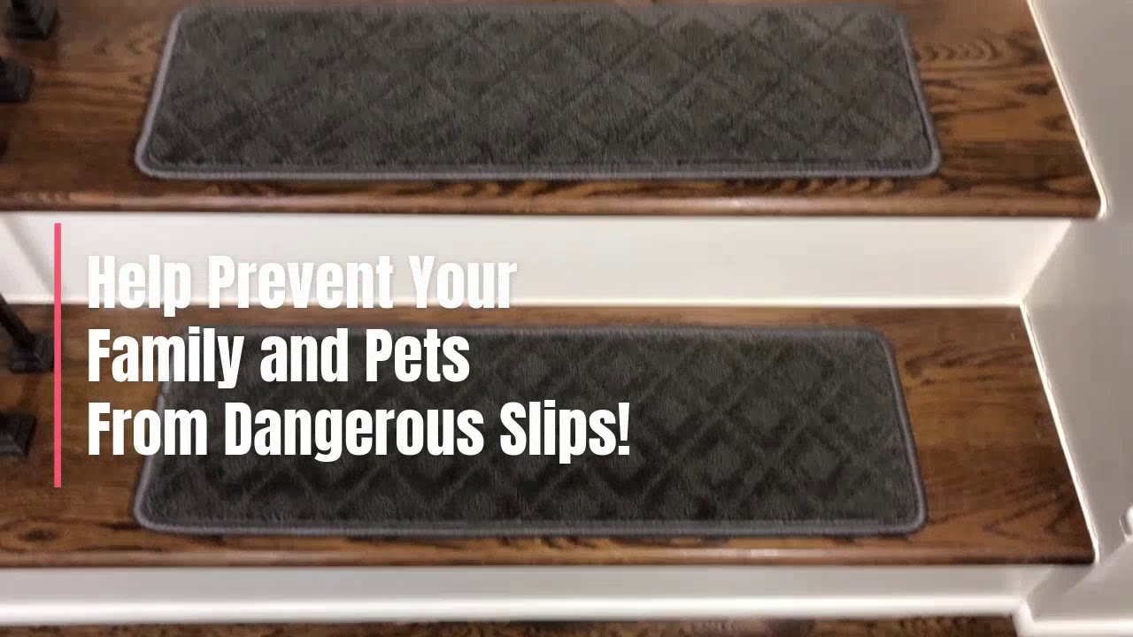 Dean Pet Friendly Smoked Pearl Dark Gray Carpet Stair Treads