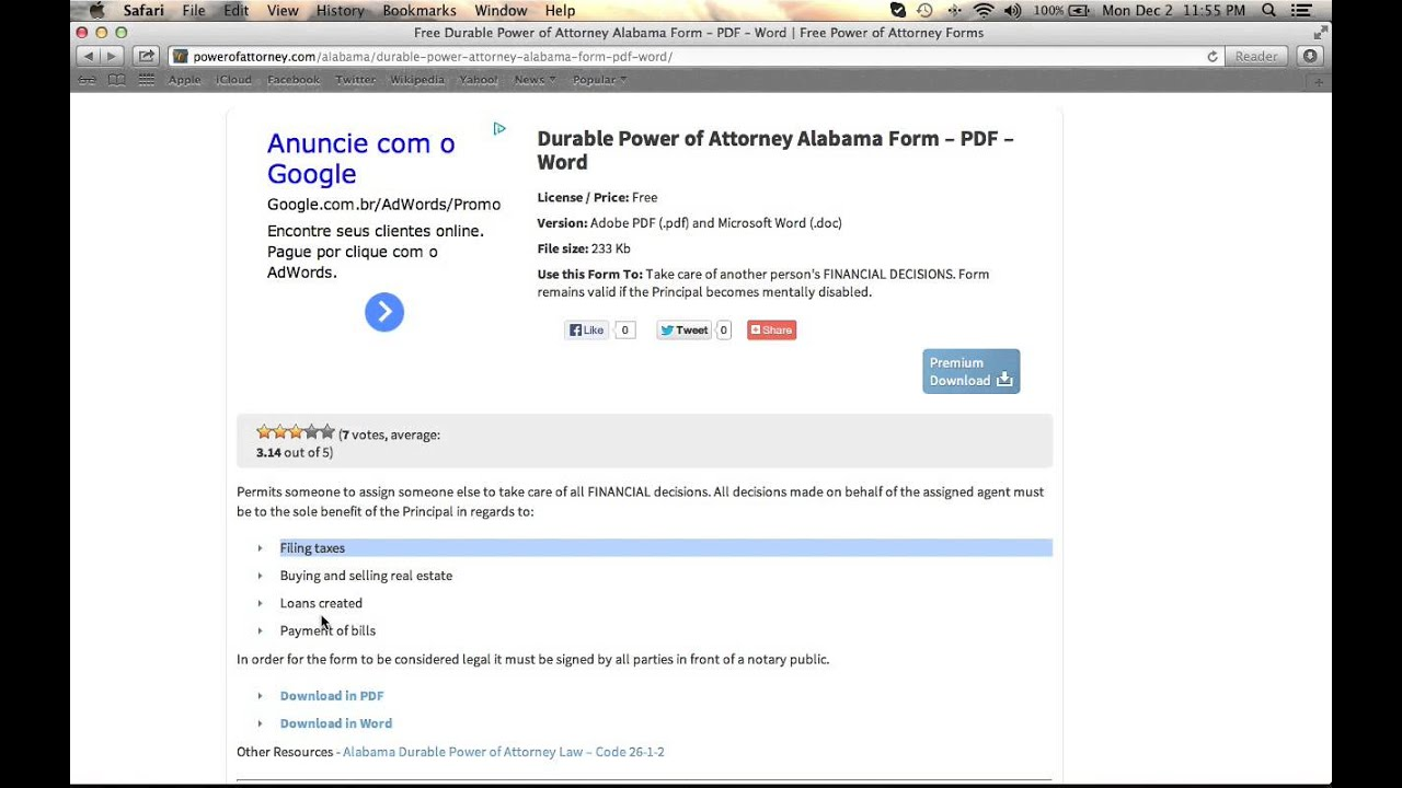 free alabama durable power of attorney form