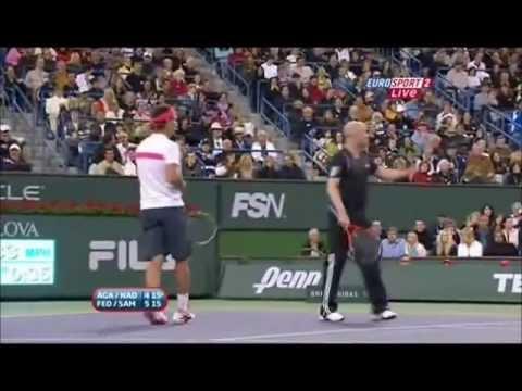 Federer imitates Nadal twice