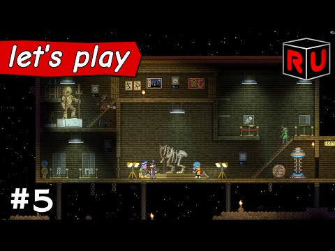 The Museum of Dudes & Dinosaurs! | Let's play Starbound Asteroid Base ep 5