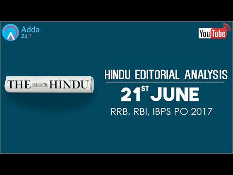 The Hindu Editorial Analysis - 21st June 2017 - Online Coaching for SBI, IBPS Bank PO